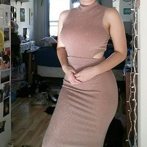 🌸 Sexy Nude Pink Open Cutt Sparkly Bodycon Dress